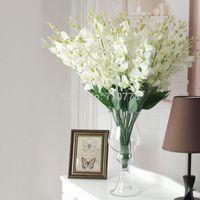 4 colores de seda artificial flores falso solo cattleya flor para diy decoraciones de la boda flores decorativas para el hogar orquídea cymbidium