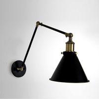Edison Vintage Industrial Loft Ajustable Brazo oscilante de pared Aplique Retro Almacén Iluminación ambiental E27 American Country Lámparas de pared