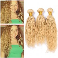 Kinky Curly Pure #613 Blonde Malaysian Human Hair Extensions...
