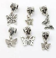 Mariposa Cuelga Granos de Agujero Grande 100 unids / lote 6 estilos de Plata Tibetana Fit Pulsera de Encanto Europeo BRICOLAJE Metal Perla Suelta