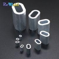 100pcs / lot Aluminium Câble Sertissage Manchon Câble Ferrule Stop pour Snare Fil Corde Clip Swage Trap Barrel Fitting