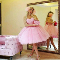 Sweety Pink Short Prom Dresses Applique Tulle Mini Party Hom...