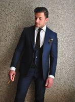 브랜드 뉴 2016 신랑 턱시도 네이비 블루 신랑 맨 피크 라펠 베스트 맨 슈트 / 신랑 / 웨딩 / 댄스 파티 (자켓 + 바지 + 타이 + 조끼)