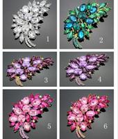 7.5 * 5 cm taille accessoires de mode petite pourpre fleur grappes feuille résine strass broche broche pour mariage nuptiale db