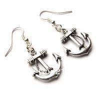 Ancoraggio charms nautico goccia / ciondola gli orecchini 925 argento pesce gancio per l'orecchio 50 pairs argento tibetano gioielli orecchini gioielli regalo caldo n1501