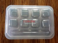 20pcs / lot geben Verschiffen 9 in 1 Edelstahl-Stein-Würfel-Getränk frei, das wiederverwendbare Eis-Würfel mit Kleinkasten abkühlt