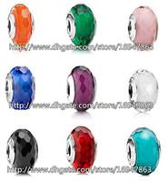 925 argento sterling in argento 925 affascinante sfaccettata perline di vetro di murano adatto in stile europeo Pandora Bracciali per gioielli di fascino Pandora collane