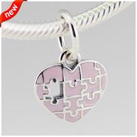 Se adapta a Pandora Nuevo y auténtico Día de la Madre Rompecabezas Corazón Cuelga Granos de los encantos Joyas de plata de ley 925 Se adapta a Pandora Pulsera de encanto europeo