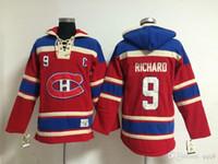 최고 품질 ! 몬트리올 Canadiens 올드 타임 하키 유니폼 9 모리스 리차드 레드 까마귀 스웨터 스웻 셔츠 겨울 자켓
