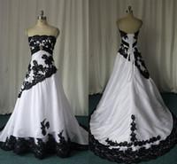 흑백 고딕 양식의 웨딩 드레스 실제 이미지 Strapless Lace Appiques Sweep Train 코르셋 백 맞춤형 플러스 사이즈 브라 가운