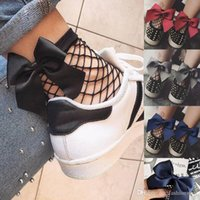 Ruffle Large Fishnet Ankle High Socks Bow Tie Calze Moda Donna Ruffle Fishnet Ankle High Mesh Lace Fish Net Short