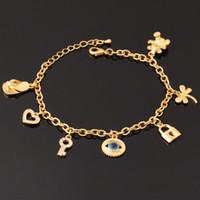 18K Реальные Позолоченные Злые глаза Симпатичный браслет Key Lock Медведь сердца высокого качества браслеты для девочек оптовой продажи ювелирных изделий YH5184