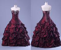 Bourgogne Rhinstone Quinceanera Klänningar Vestidos de Festa Sweetheart Ball Gown Elegnat Pageant Klänning Puffy Crystal Beading Prom Gowns 2015