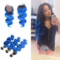 Dark Roots Body Wave 1B Blue Extension con cierre de encaje 4x4 Free Middle Three Part Ombre Blue Hair 3Bundles con cierre de encaje