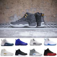 2018 New 12 Bordeaux Basketball Shoes Men 12s dark grey OVO ...
