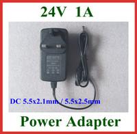100 adet AC 100-240 V DC 24 V 1A Şarj AB ABD İNGILTERE Tak DC 5.5x2.1mm / 5.5x2.5mm 5.5 * 2.1mm / 5.5 * 2.5mm Güç Kaynağı Adaptörü