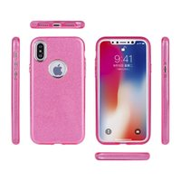 Per iPhone X 8 Plus 3 in 1 Custodia in gel TPU Custodia Bling Glitter 360 Protector Cover rigida antiurto per iPhone 6 7 DHL spedizione SCA363