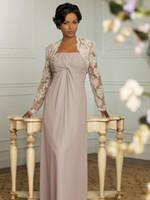 Mère des robes de mariée de mariée avec veste en dentelle 2 pièces dame mère mousseline de mousseline longue robe de soirée de mariage formelle de mariage robe de soire