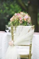 2015 nieuwe arrevail! 50 stks ivoor tule stoel sjerpen voor bruiloft event feest decoratie stoel sjerp bruiloft ideeën