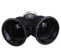 1pcs Noir Fireproof Matériel E27 À 2E27 SOCLE Ampoule LED Convertisseur Splitter adaptateur E27 à 2 E27 Convertisseur Holder