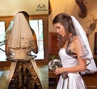2016 CAMO короткие свадебные завесы локтя длина камуфлятора ленты кромки кромки свадебные вуальские части для невесты на заказ