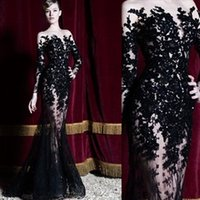 2018 Black Hot Zuhair Murad Evening Dresses Long Sleeves Lac...