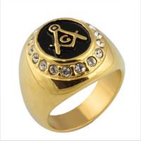Lüks altın yüzük masonik ücretsiz duvarcılık nişan kristal yüzük erkekler ve kadınlar için paslanmaz çelik