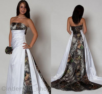 White Camo Wedding Dress 2018 Strapless Backless A- Line Swee...