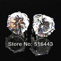 Mode 48 pcs 7mm clair Autriche Cubic Zirconia Acier Inoxydable Boucles D'Oreilles pour Femmes Mens Gros Bijoux Lots A-644