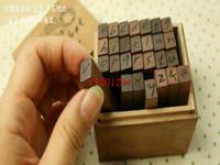 Fedex DHL envío gratis 28 unids / set Sellos de madera AlPhabet letras sello de madera en mayúsculas minúsculas, 10 set / lote