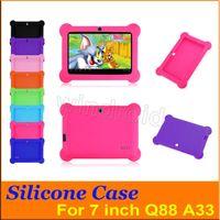 """Anti Toz Çocuklar Çocuk Yumuşak Silikon Kauçuk Jel Kılıf Kapak 7 """"7 inç Q88 Q8 A33 A23 Android Tablet PC Orta Ücretsiz Kargo 100 Renkli"""