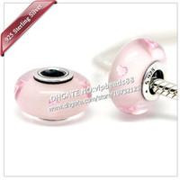 S925 gioielli moda in argento sterling rosa cuore effervescenza perline di vetro di murano adatto europeo fai da te pandora braccialetti di fascino collana