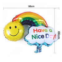 All'ingrosso Large Size Smile Face Rainbow Globos Palloncini foil a doppia faccia Happy Birthday Wedding Decoration Balls Have A Nice Day Kids Toys