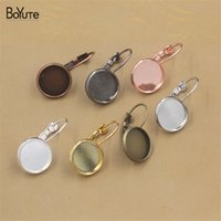 BOYUTE 50PCS 7 Färger Pläterad Runda 12 18 20 mm Cabochon Base Earring Blanks DIY Smycken Findings Components