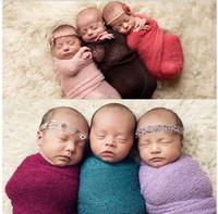 아기 Swaddling 담요 신생아 사진 사진 Props Stretch Wrap 니트 아기 Swaddle 포장 담요 KKA3207