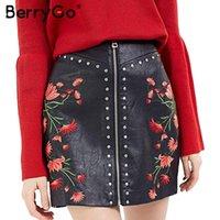70c366ca1b BerryGo elegante bordado floral falda de cuero de LA PU cremallera Vintage  mini falda de cintura alta 2017 2017 remache sexy falda corta delgada  q171118