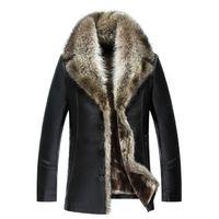 Hommes Sheepskin Manteaux d'hiver Vestes en cuir réel fourrure de raton laveur Collier chaud épais neige Pardessus Outwear haute qualité de grande taille 4XL