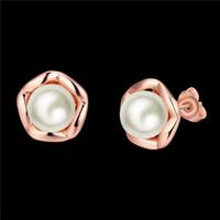 2016 Nuovo Design Reale 18 K oro rosa placcato perla orecchini gioielli moda regalo di nozze per donna Trasporto libero di alta qualità