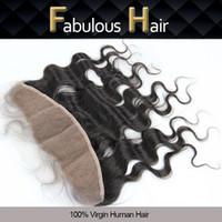 """Fabulosa onda de cuerpo virgen brasileño 13x4 """"Hair vírgico sin procesar Wavy FreePart Closure Toquiekes Blanqueados Nudos Encaje Frontal Freeshipping"""