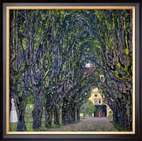 Kunst Gemälde auf Leinwand, BAUMGEFÜTTERTE STRASSE ZUM GUTHAUS IN KAMMER, OBERÖSTERREICH von Gustav Klimt, hohe Qualität, handgefertigt