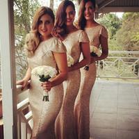 Günstige Gold Pailletten Brautjungfernkleider 2015 Flügelärmeln Rundhalsausschnitt Meerjungfrau Funken bodenlangen Trauzeugin Kleider Dhyz 01