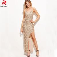 Reaqka gold pailletten maxi dress frauen elegante sexy high split lange schulterfrei dress 2017 luxus abendgesellschaft kleider vestidos q1113