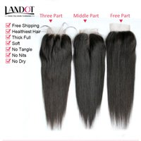 8A Düz İnsan Saç Kapatma Brezilyalı Malezya Perulu Hint Moğol Kamboçyalı Saç Üst Dantel Kapatma Ücretsiz / Orta / 3 Yollu Parça Boyutu 4x4