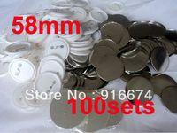 Al por mayor-Rápido envío gratuito de descuento 58 mm 100 Sets Insignia profesional Button Pin Maker Pin Volver botón de suministro de materiales