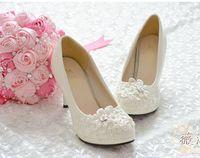 Ayakkabı Kadın Yüksek Topuklar Düğün Ayakkabı Platformu Ayakkabı Beyaz Inci Dantel Çiçek Gelin Ayakkabıları Kadın Pompaları Düz / 4.5 cm / 8 cm