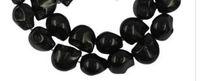 100pcs الفيروز GEMSTONE الجمجمة العظام الخرز DIY قلادة مجوهرات جعل أسود 10x12mm