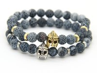 2015 Natale Mens regalo all'ingrosso 8mm Weathering Stone Beads Antique GoldSilver Plated Helmet Spartan Bracelets