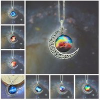 12 Farben Weinlese Mond Halskette Sternen Mond Weltraum Universum Edelstein Halsketten Anhänger Kette Schmuck Kinder Zubehör 48 teile / los