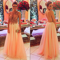 New Arrival Sexy Chiffon Beaded Appliques Lace Prom Dresses ...