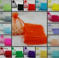 뜨거운 판매! 100pcs 새로운 Organza 웨딩 파티 호의 장식 선물 캔디 가방 7x9cm 15 색